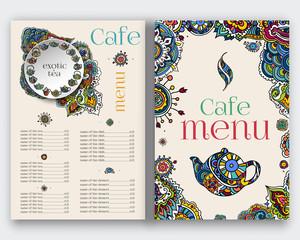 Tea menu, ethnic ornament.