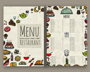 The menu for the restaurant.