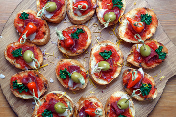 pinchos, tapas, spanish canapes, party finger food