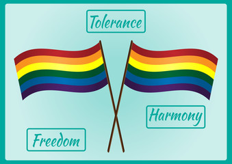 Two LGBT flag on a pole and three frames for text with the words