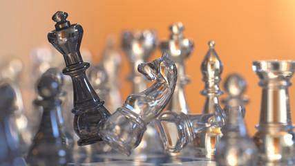 chess figures battle scene
