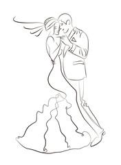 Vector Illustration Of Wedding Dance