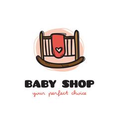 Vector funny doodle style baby bed logo. Sketchy baby shop logo