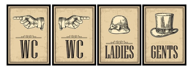 Toilet retro vintage grunge poster. Ladies, Cents, Pointing finger.  Vector vintage engraved illustration on a beige background.  For bars, restaurants, cafes, pubs