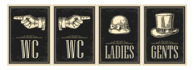 Toilet retro vintage grunge poster. Ladies, Cents, Pointing finger. Vector vintage engraved illustration on a black background. For bars, restaurants, cafes, pubs