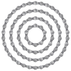Set of round frames made of metal bicycle chain, isolated on white, vector illustration