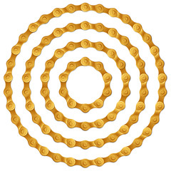 Set of round frames made of golden metal bicycle chain, isolated on white, vector illustration