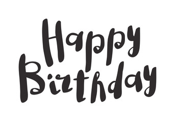 Happy Birthday Fonts ~ Happy birthday text hand lettering handmade calligraphy invitation