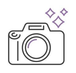 Photo camera icon digital design lens photography symbol vector outline sign.