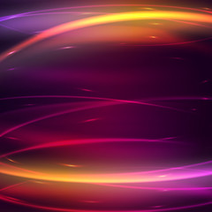 Abstract background with glow effect, vector illustration. Wallpaper design. Lightings and shiny, colorful texture. Motion graphic effect. Creative futuristic wave.