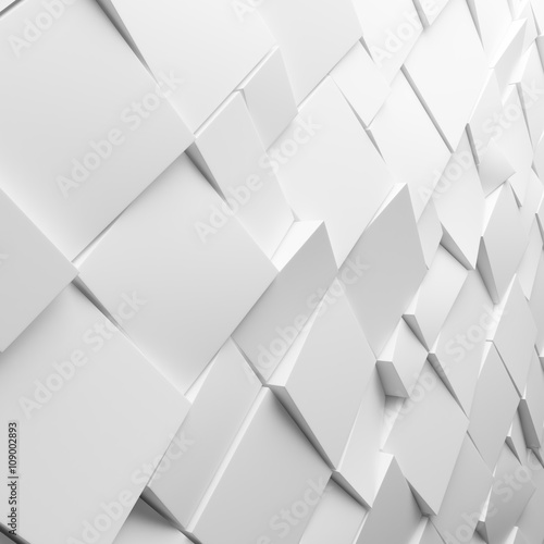 """Designer White Abstract Ceramic Wall Tile Pack Of 8 L: """"Geometric White Abstract Polygons, As Tile Wall"""" Stock"""
