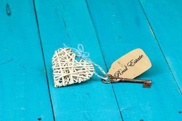 Wicker heart with key and Real Estate tag
