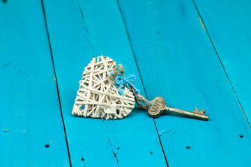 Wicker heart with LOVE key