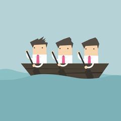 Businessman rowing team, Teamwork concept.