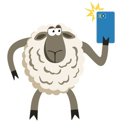 Selfie goofy sheep vector illustration