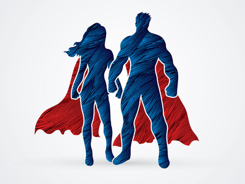 Superhero Man and Woman standing designed using red and blue grunge brush graphic vector.