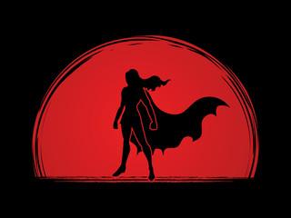 Superhero Woman standing on sunlight background  graphic vector.