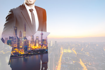 double exposure of businessman on background