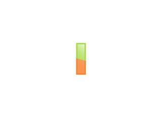 Green Orange shiny i letters