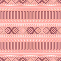 Seamless vector pattern.  Traditional ethno background in red colors. Series of National, Folk, Ethnic and Traditional Seamless Patterns.
