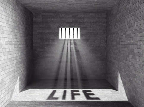 Prison with light and Life Shadow. 3d Rendering
