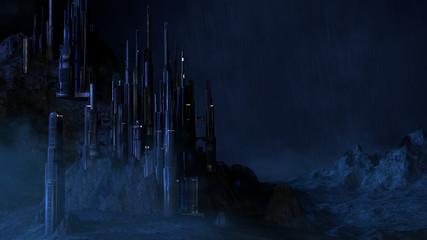 Futuristic/Sci Fi City in the Rain. Night rain falls on a futuristic mountain city while a light mist gathers around its base.
