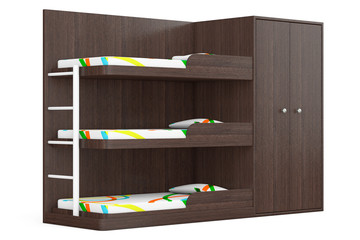 Wooden Bunk Bed. 3d Rendering