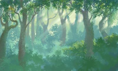 inside forest background painting illustration