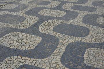 Famous Copacabana Sidewalk near beach .