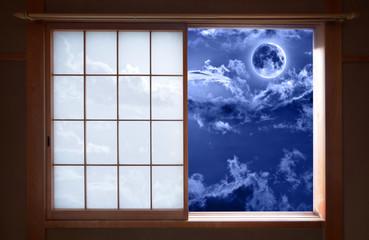 Traditional Japanese sliding window and romantic night sky