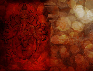 Hindu God Ganesh with Many Arms Red Grunge