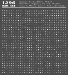 1296 icon set (education,food and drink,home,fashion,academy,globe,ecology and nature,business,music)