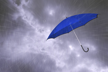 Clouds, rain and an umbrella. Symbolic image of rainy weather. 3D rendering.
