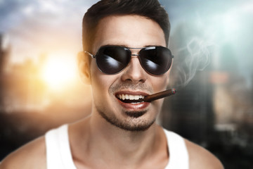 Man smoking sigarette