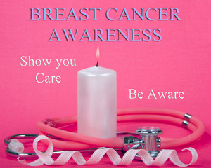 Breast Cancer Awareness Ribbon with Candle Flame Stethoscope