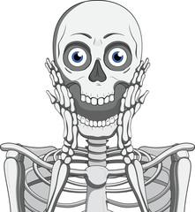 Scary skeleton.Hand drawn illustration.Skeleton vector.Skull emotion.Isolated on white.Skeleton cartoon style drawing.