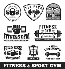 Set of fitness gym and sport club logo emblem design. Vector illustration