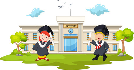 funny of students at graduation with landscape background
