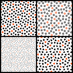 Black white and orange chaotic ethnic geometric seamless patterns set, vector