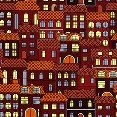 Vintage seamless cityscape background pattern