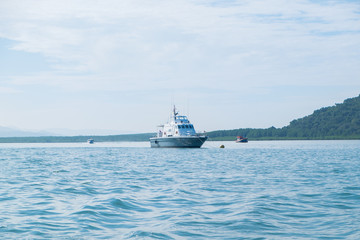 Beuatiful boat on the sea.