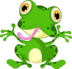 frog cartoon waving