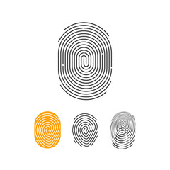 Fingerprint vector icons set, abstract thumbprint symbol, finger print sign, flat illustration design isolated on white background