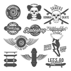 Set of vintage  badges with skateboard