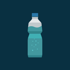 Water bottle plastic illustration isolated on dark blue background, bottle of mineral water with bubbles inside, flat icon simple cartoon design