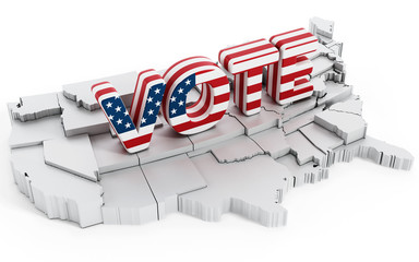 American flag textured vote text standing on USA map