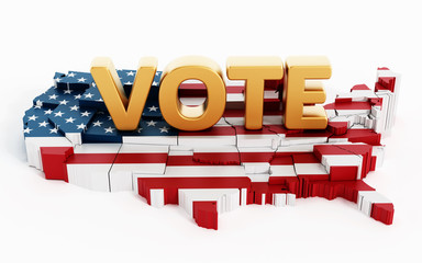 Golden vote text standing on USA map covered with USA flag