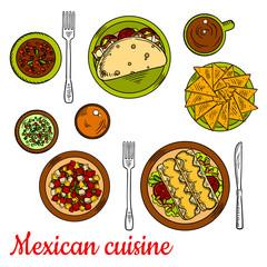 Mexican cuisine icon with taco, nachos, enchiladas