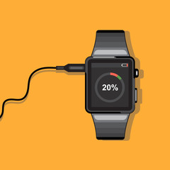 A black smart watch connected to a wire with battery status info icons on the display panel on an orange background, digital vector image