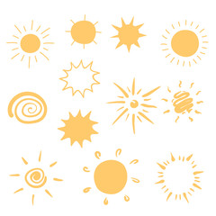 Set of hand-drawn sun icons.
